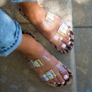 """New"" Clear Double Strap Sandals"